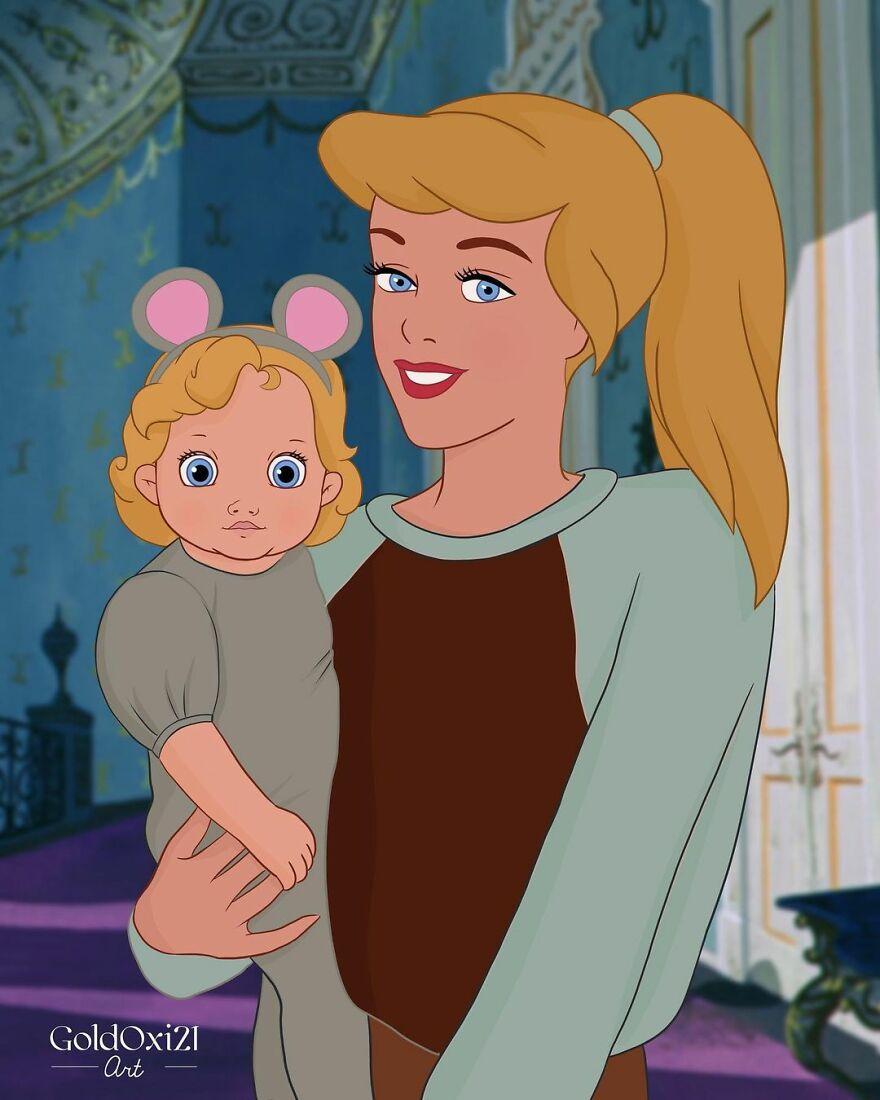 Российская художница изобразила принцесс Disney ввиде мам сдетьми | Канобу - Изображение 12084